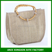 Colorful Jute Bag, Plain Jute Pouch, Eco-frinendly Jute Bag Bamboo habdle