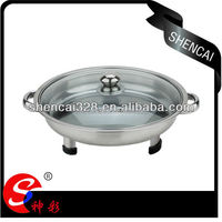 Special Design Stainless Steel Round Serving Tray With 3 Legs /Handles and Glass Lid