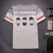 Japanese stitching letters printed short-sleeved t-shirt fashion T-shirts printed face popular front compassionate man