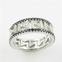 Fashion In USA Black&White Zircon Rhodium Plated Mirco Paved Sterling Silver Unisex Rings