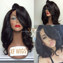 Alibaba China Suppliers fashionable full lace wig brazilian remy hair wig with side swept bangs