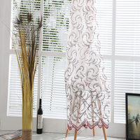 Wholesale cheap linen curtain fabric ready made Russian embroidery tulle curtains for home decor