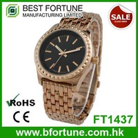 FT1437 Hot sale rose gold alloy metal band stainless steel case back watch