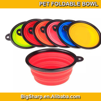 100pcs Colourful folding silicone pet bowl for cat dog pet travelling collapsible pet cup, can easy go with it outdoor FB-002B