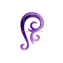 Wholesale body piercing jewelry Purple White Paradox Acrylic Swirl Taper Ear Expander