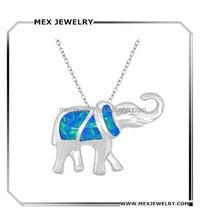 Latest design silver elephant shape pendant opal design wholesale jewelry