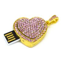 2015 new design diamond heart USB drive necklace