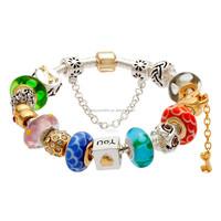 Colorful murano glass beads LOVE dangle charm European beaded bracelet
