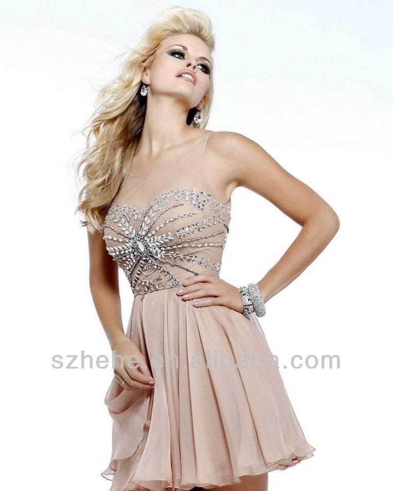 De color caqui cy1045 de cuentas una línea de gasa mini moda corto vestido de cóctel 2014