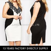 Plus Colour Block Plunge Neck Big Size Women Evening Dress Pencil Dress