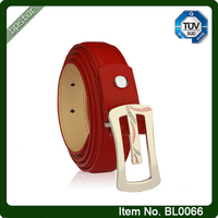 Red Real Leather Belt With Polished Golden Buckle For Women