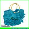 LUDA Colorful Straw Beach Bag Macrame Crochet Paper Tote Straw Bag