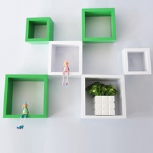 Customer Fashion Colorful cube shelf Square wood cube shelf Square floating shelf cube