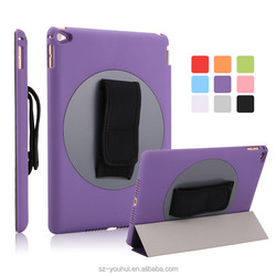 Manufactory Tripled Folded Stand 360 Degree Rotating Flip Cover Smart Awakening Case for iPad Air 2 for Apple Tablet 6