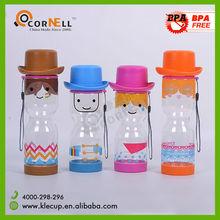 wholesale bpa free plastic water bottles with cowboy hat for children ,kids bottle
