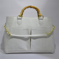 Specialized Hot Design White Bamboo Handle Mature Woman Handbags