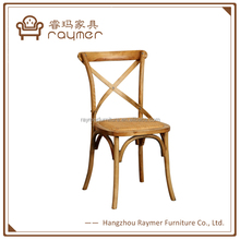 Hot Sale Bistro Solid Wood Rattan Seat X Cross Back Dining Chairs