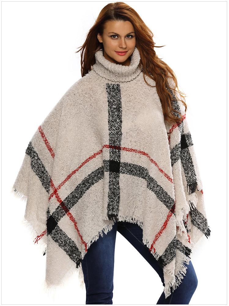 Plus Size Women\'s Wool Plaid Cardigan Turtleneck Cape Batwing Sleeve ...