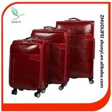 wholesale pu material zipp wheels ladies travel luggage