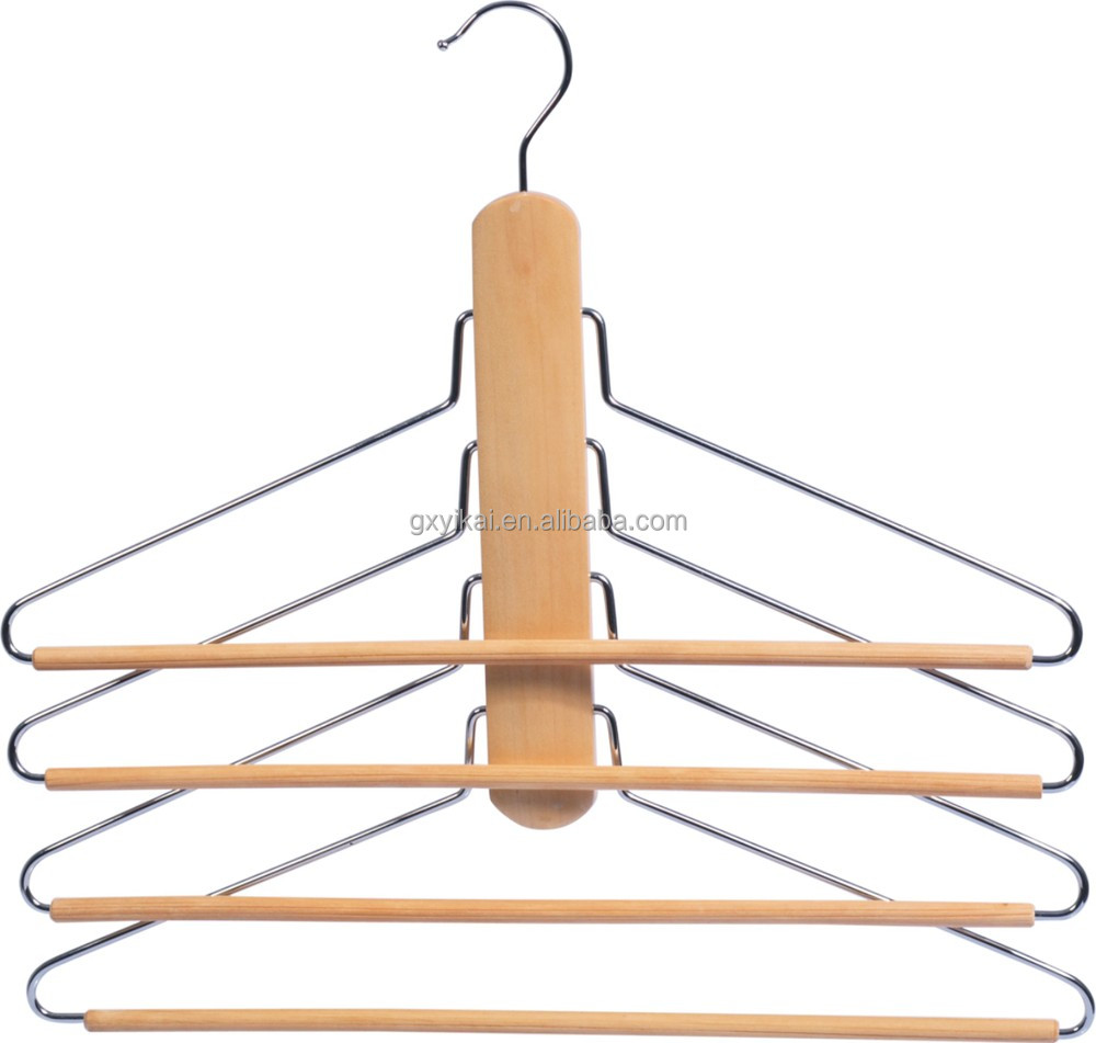 WHS-40136-wooden shirt hanger with 4 tiers of metal bars and 2 hooks.jpg
