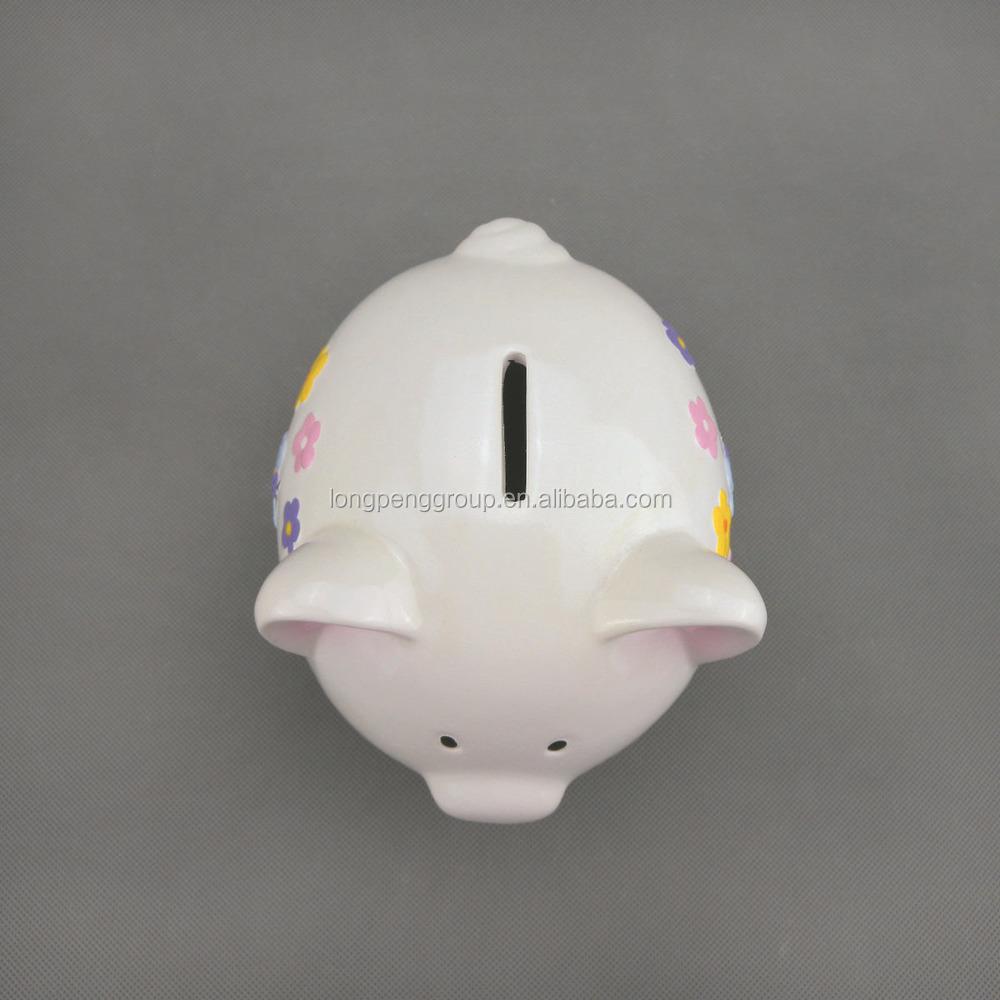 White Ceramic Dolomite Piggy Bank