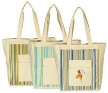 Durable stripe canvas beach tote bag wholesale