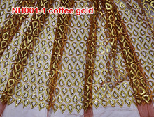 New Arrive charming design french lace /net lace fabircs for wedding,NH001-1 coffee gold