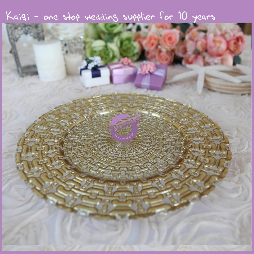 16121 Wholesale Cheap Gold Silver Glass Beaded Charger