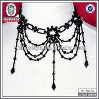2013 new design china yiwu black diamond faceted bead necklace