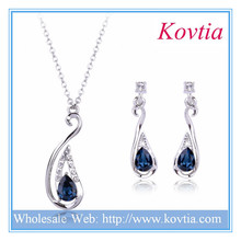 Fine jewelry dubai white gold jewelry dark blue crystal bridal jewelry set