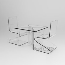 Organic glass dining table,customized clear acrylic office table