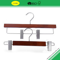 LM4515C Luxury Wood Pant Hangers Cherry With Pearl Nickel Clips