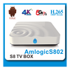 Quad Core Android TV Box Amlogic S802 M8N/S8 Networking Streaming Media Players Network TV Converter Box WiFi Hotspot Playready