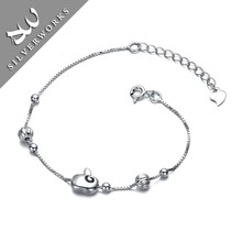 Newest Solid 925 Sterling Silver Chain Bracelet with Diamond