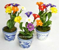 thai clay handmade flowers pot & fridge magnet (3-5 inch)
