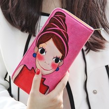 Hot new products for 2015 Cartoon girl painted high capacity women purse wallet women bag