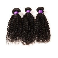 Hot selling human hair Afro kinky curl brazilian virgin natural color unprocessed 100% remy human hair weft