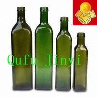 square high quality green glass olive oil bottle