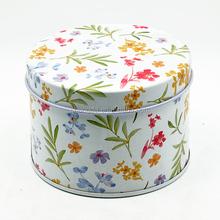 Round shape for flower pattern gift tin box for OEM factory CD-039-L