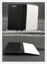 blank sublimation leather phone cases with white fabric for sony Z3 mini