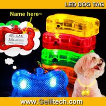 Wholesale sex Pet Dog/Cat Safety Flashing Dogs Bone Blinking Glow Light LED Collar Pendant Tag Fashion Dog tag pendant