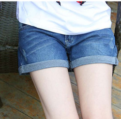 Summer curling denim shorts hole loose big yards fat mm shorts tide Breathable Color Fade Proof women Jeans