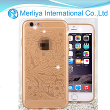 Ultra Thin TPU Phone Case Cover for Iphone 6 with Swarovski Crystal Bling