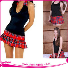 2015 High quality short dress costume sexy school girls