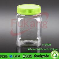 350cc empty airtight dry fruits plastic bottle, transparent square peanut butter jars, pet plastic seeds container supplier