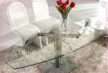 L865A-9 2013 New style modern design Stainless steel tube legs tempered glass dining room table hot sale