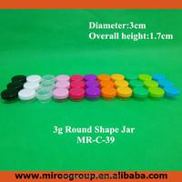 50pcs/lot 3g eyelash glue container ,acrylic cosmetic cream jar , colorful plastic container small lids eye cream jars