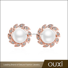 OUXI wholesale jewelry 18k gold plated hanging pear shaped pearl earrings