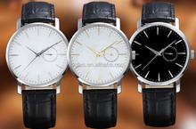 Black leather band watch & big dial watch q&q quartz 10 bar watch models