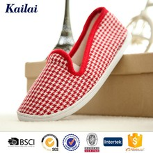 Red-white houndstooth canvas flat confined women slippers